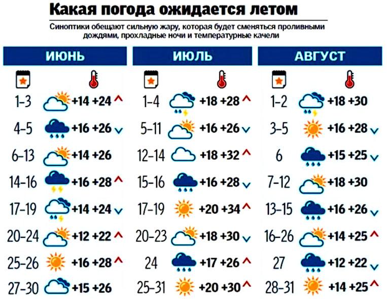 прогноз на лето рус
